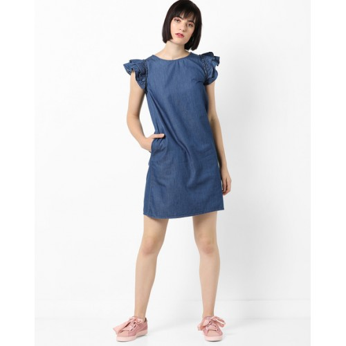 a26525bde87 Buy DNMX Denim Shift Dress with Tiered Cap Sleeves online
