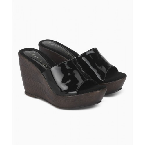 Catwalk  Black Synthetic Solid Wedges