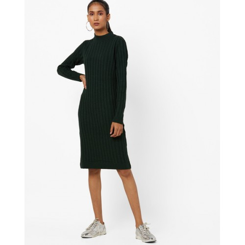8a1b03d1342e Buy AJIO Ribbed High-Neck Sweater Dress online