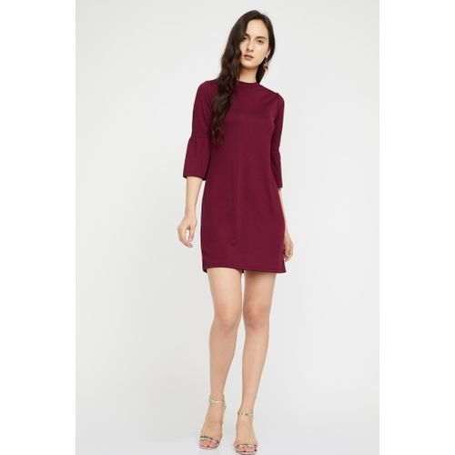 BOSSINI Solid Bell Sleeve Dress