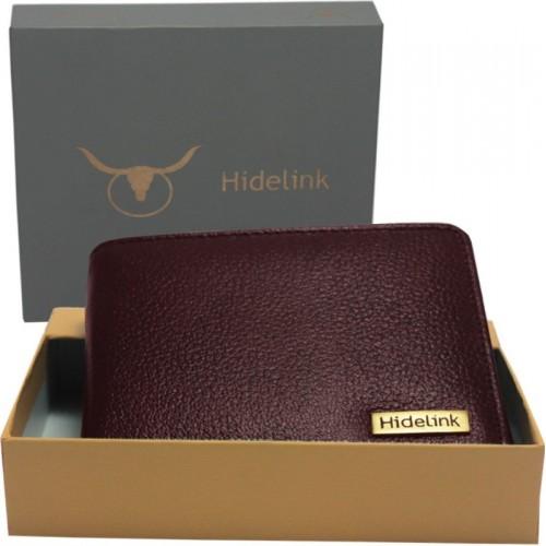 Hidelink Men Casual Brown Genuine Leather Wallet(6 Card Slots)