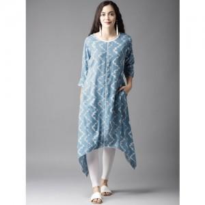 Moda Rapido Women Blue & White Printed A-Line Kurta