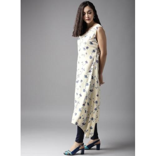 Moda Rapido Yellow & Blue Printed A-Line Kurta