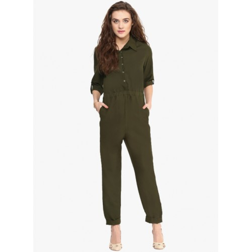 66a4cabf9797 Buy Uptownie Lite Green Crepe Button Front Jumpsuit online