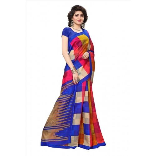 5200e26158 ... Indian Beauty Blue Bhagalpuri Silk Printed Saree With Blouse ...