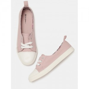 Mast & Harbour Women Peach-Coloured Canvas Sneakers