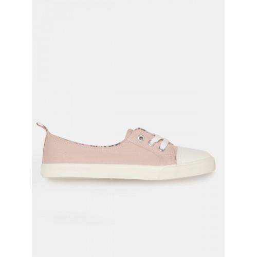 Mast & Harbour Women Peach-Coloured Canvas Sneakers