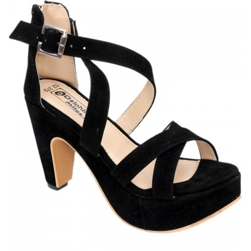 Dolphin Miles Black Synthetic Party Wear Sandal