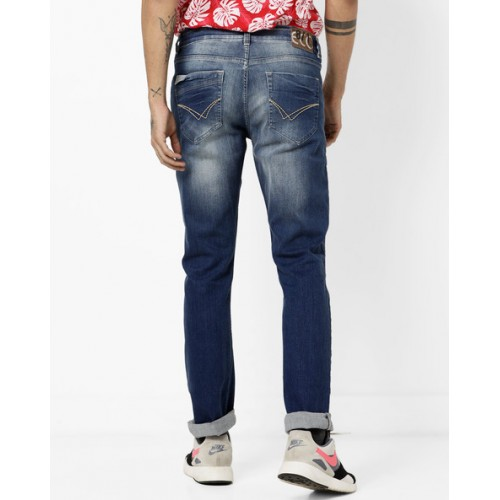 NUMERO UNO Mid-Rise Washed 5-pocket Jeans
