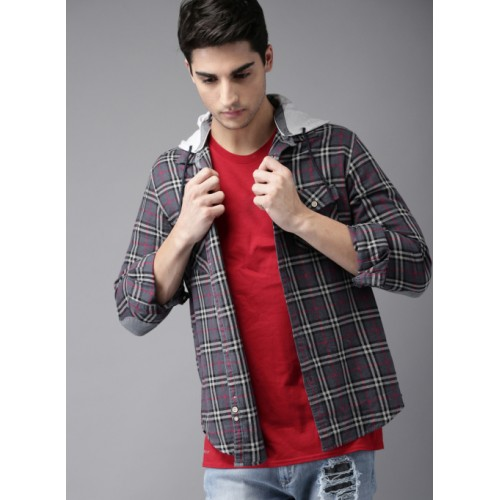 HERE&NOW Blue & Red Cotton Checked Casual Shirt With Detachable Hood