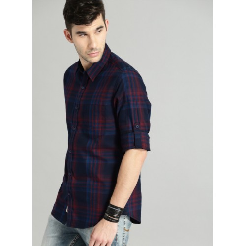 Roadster Navy Blue & Maroon Cotton Regular Fit Checked Casual Shirt