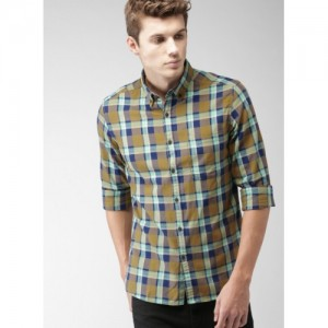 Harvard Yellow & Navy Blue Cotton Regular Fit Checked Casual Shirt