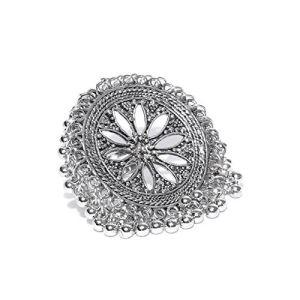 Zaveri Pearls Oxidised Silver-Plated Textured Adjustable Ring