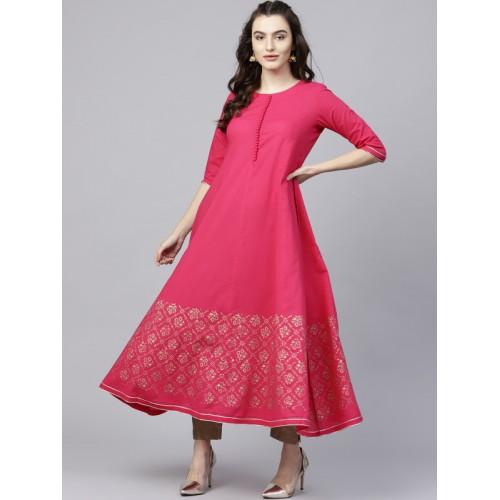 Nayo Women's Printed Anarkali Kurta(Pink)