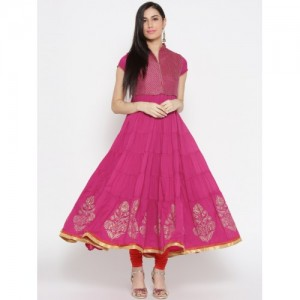 Biba Women Pink Printed Detail Anarkali Kurta with Ethnic Waistcoat