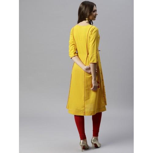 Juniper Women Yellow Woven Design A-Line Kurta