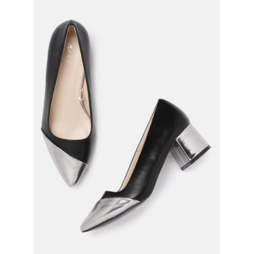 Mast & Harbour Black & Silver Synthetic Solid Belly Shoes