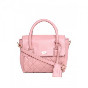 yelloe Pink Synthetic Leather Textured Handheld Bag