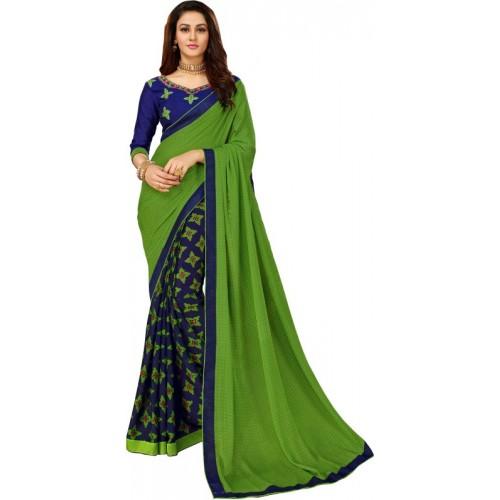Sutram Green Printed Fashion Georgette Saree