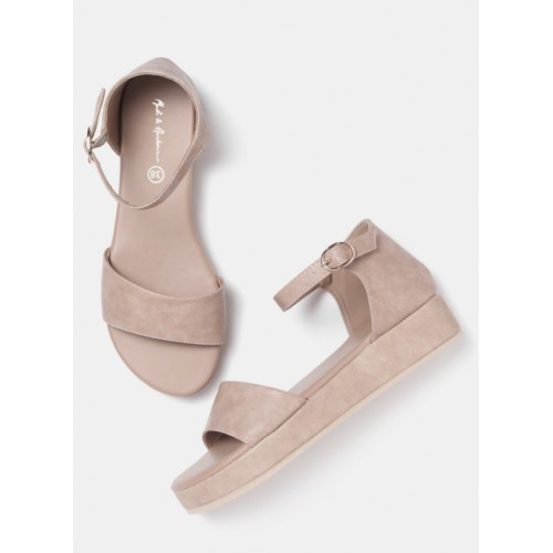 Mast & Harbour Beige Synthetic Solid Sandals