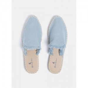 Mast & Harbour Blue Synthetic Solid Denim Mules Chappal