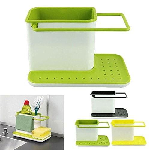Mayatra's 3 IN 1 Kitchen Sink Organizer for Dishwasher Liquid, Brush, Cloth, Soap, Sponge Sink Sponge Holder