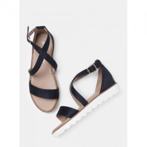 Mast & Harbour Navy Blue Synthetic Solid Sandals