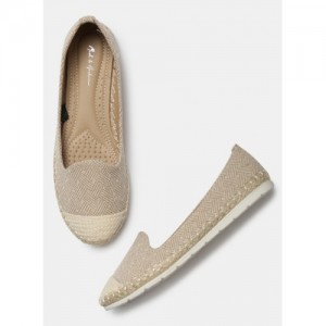 Mast & Harbour Beige Canvas Slip On Belly Shoes