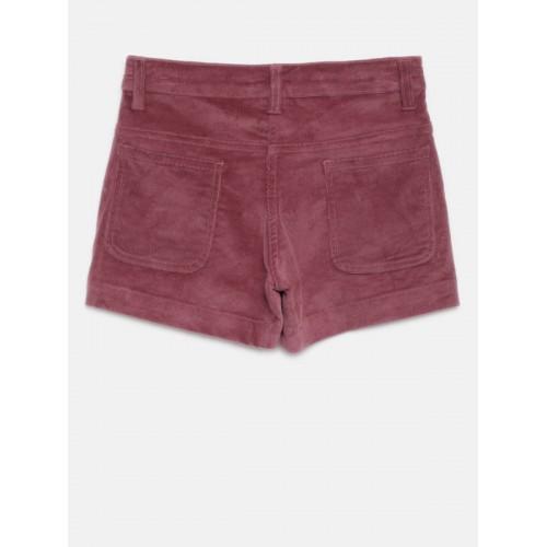 YK Girls Maroon Solid Regular Shorts