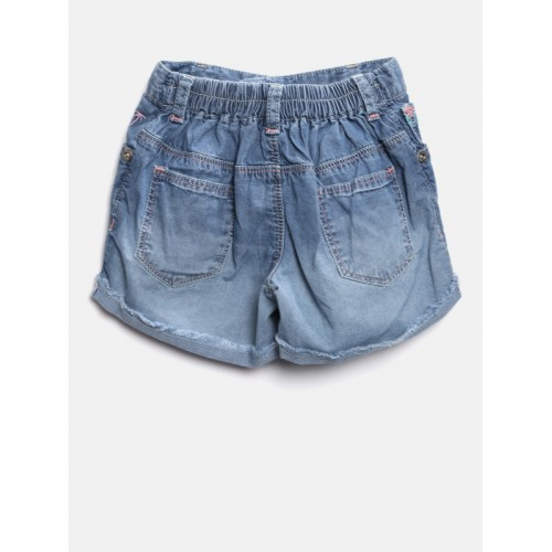Palm Tree Girls Blue Washed Denim Shorts