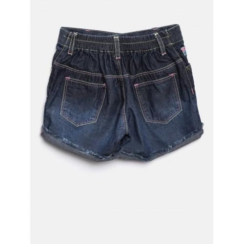 Palm Tree Girls Blue Washed Washed Denim Shorts