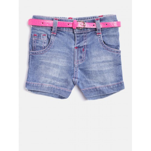 Baby League Girls Blue Washed Denim Shorts