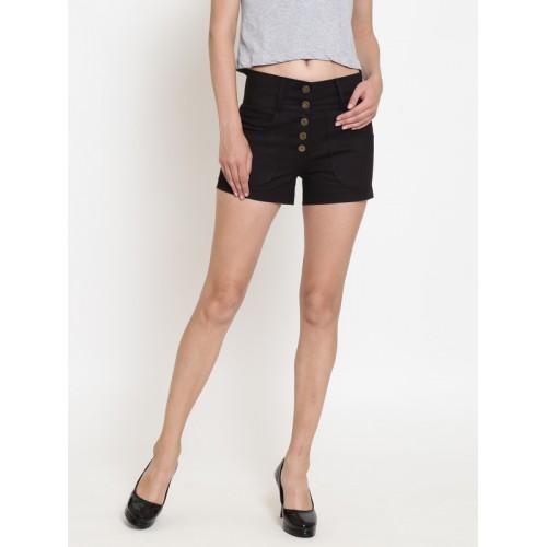 Rider Republic Women Black Solid Regular Fit Shorts