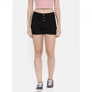 DressBerry Black Solid Slim Fit Denim Shorts