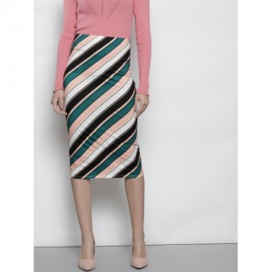 DOROTHY PERKINS Women White & Peach-Coloured Striped Straight Skirt