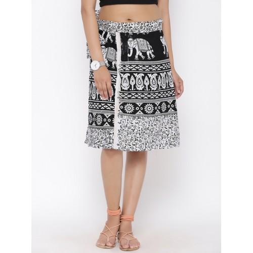 SOUNDARYA Women White & Black Knee Length Printed Wrap Skirt