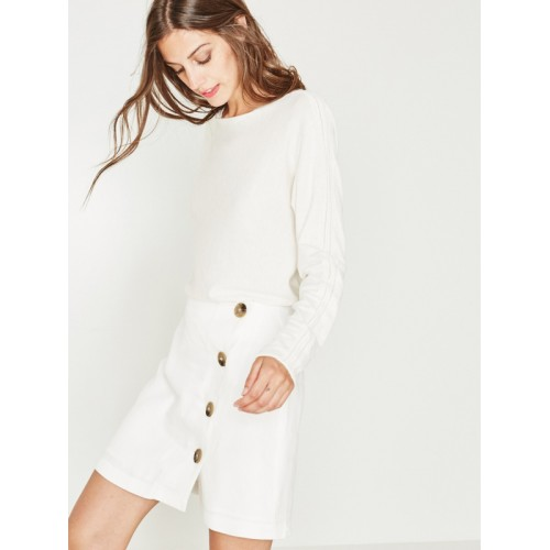 promod Women White Solid A-Line Skirt