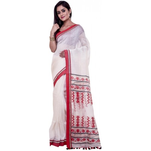 384f9f26a5 Buy Rene White Printed Jamdani Silk Linen Blend Saree With Blosue online |  Looksgud.in