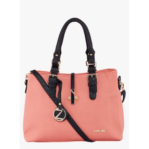 Zoricane Peach Polyurethane Solid Handbag