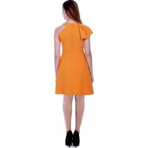 Addyvero Orange Cotton Regular Fit Skater Dress