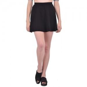 Rigo Solid Black Skater Skirt For Women