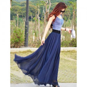 Rosella Navy Blue Flare Long Skirt