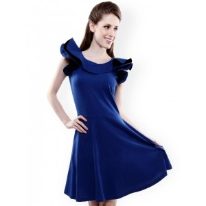 Miss Chase Blue Woven Solid Fit & Flare Dress
