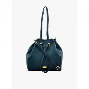 yelloe Teal Synthetic Leather Sling Bag