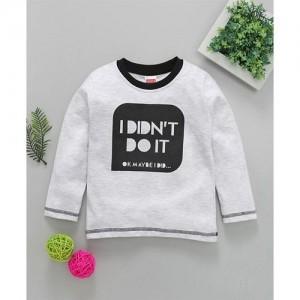 Babyhug White Cotton Full Sleeves Tee Text Print