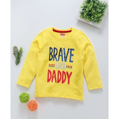 Babyhug Yellow Cotton Full Sleeves Cotton Tee Brave Print