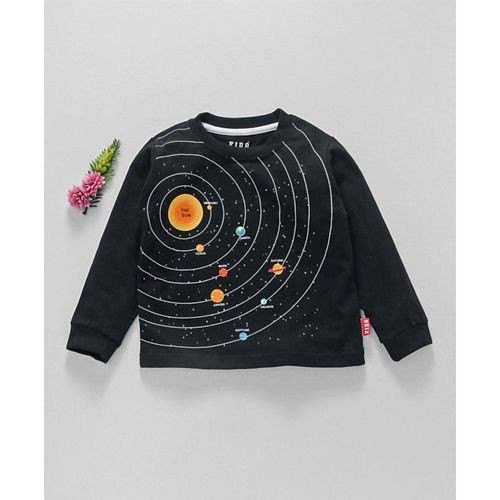 Fido Black Cotton Full Sleeves T-Shirt Solar System Print
