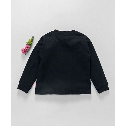 Fido Black Cotton Full Sleeves T-Shirt Solar System Print