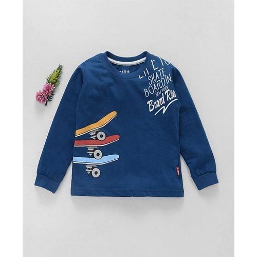Fido Navy Blue Cotton Slim Fit Full Sleeves T-Shirt Skates Print