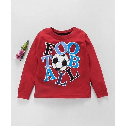 Fido Red Cotton Full Sleeves T-Shirt Football Print